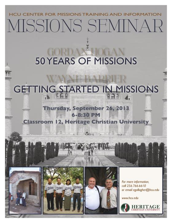 Interesting combination of topics for HCU missions seminar